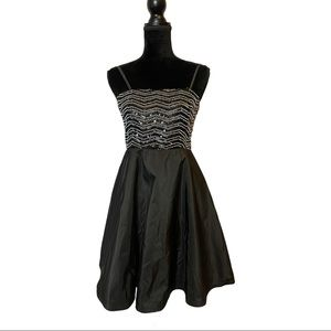 Alice + Olivia Black Beaded Sequin Party Dress